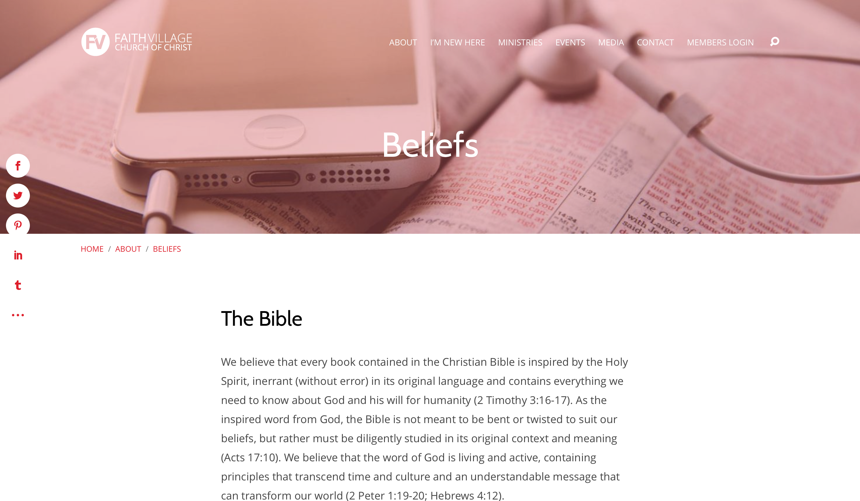 Faith Village Website - Beliefs Page