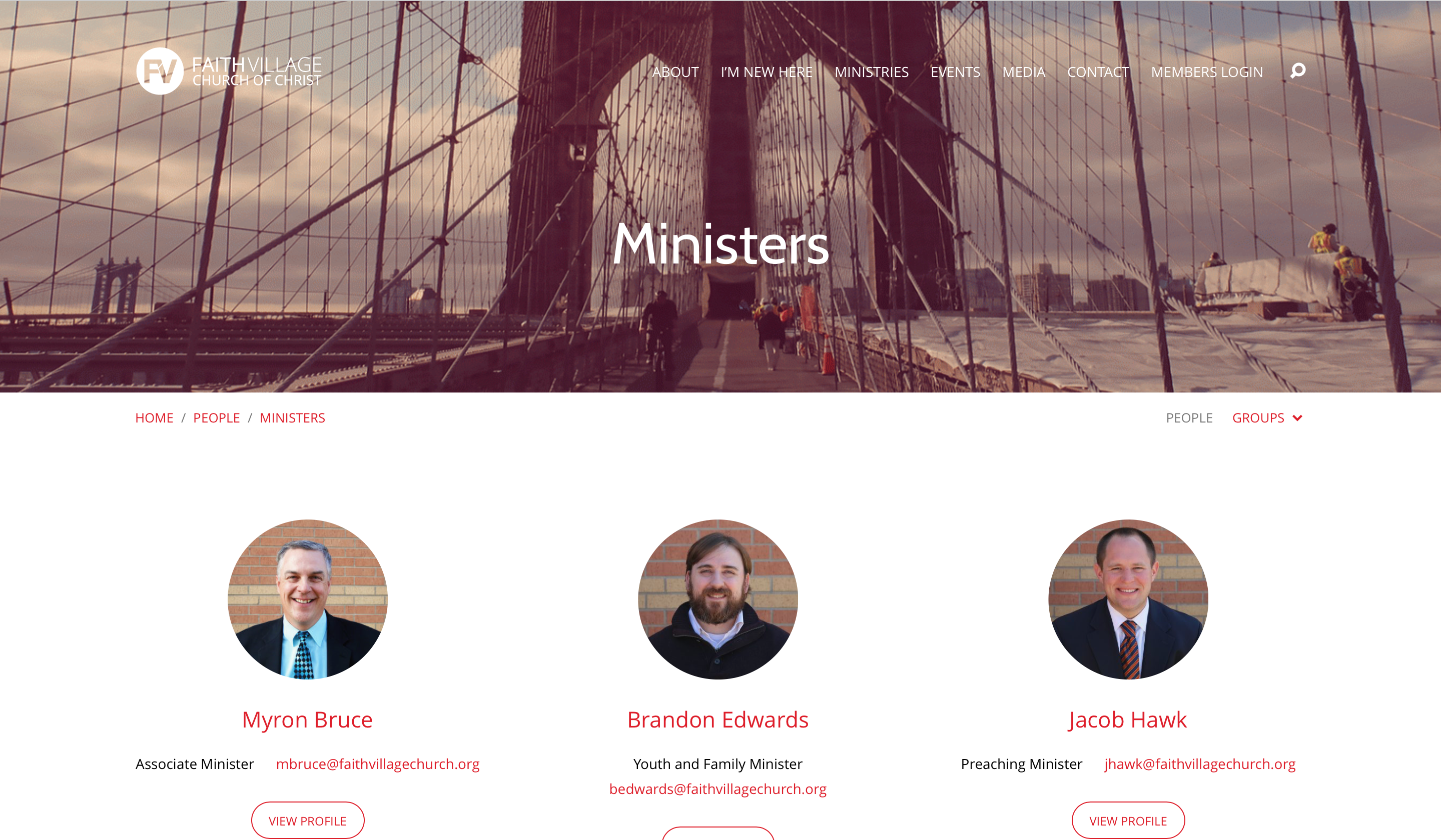 Faith Village Website - Ministers